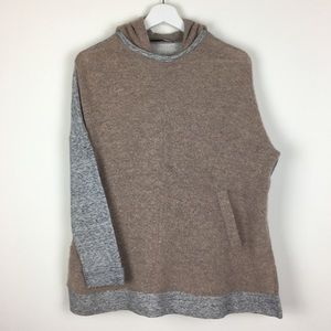 Zara Knit Mohair Two Tone Hooded Sweater